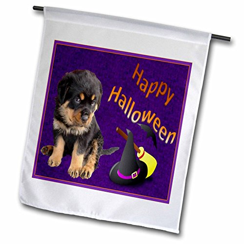 3dRose fl_46976_1 Happy Halloween-Rottweiler, Rottweiler's, Rottie, Rottie Owner, Rottweiler Puppy, Rottweiler Puppies Garden Flag, 12 by 18-Inch