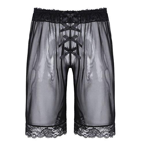 Alvivi Mens See Through Lingerie Sissy Sheer Mesh Lace Bowknot Loose Shorts Pants Underwear Black -