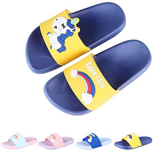 Boys Girls Slide Sandals Kids Outdoor Beach Pool Sandal Soft Unicorn Bath Slippers (Toddler/Little Kid) Yellow 32 (Slippers Pvc)