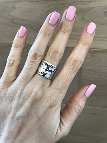 Wide Band Statement Blue Sapphire Ring Size 5