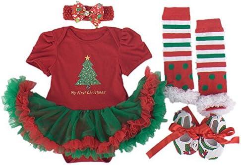 WINMI Baby Girls Newborn 1st Christmas Onesie Costume Outfits Tutu Dress 4PCs