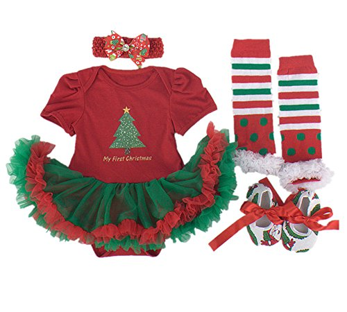 [WINMI® Baby Girls' Newborn 1st Christmas Onesie Costume Outfits Tutu Dress 4PCs (L)] (Christmas Outfits Baby)