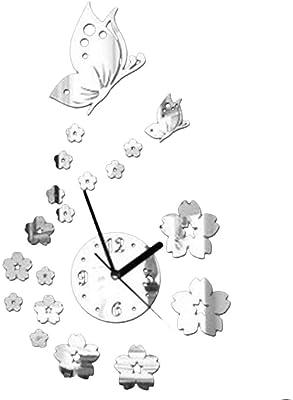 Omkuwl Butterfly Flower 3D Wall Clock Acrylic Mirror Stickers Modern Art Home Decor silver
