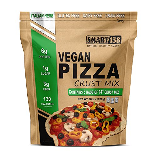 Vegan Pizza Crust Mix // Just Add Water // Grain-Free, Gluten-Free, Dairy-Free, Yeast-Free Non-Rising Dough (Italian Herb, 36oz (3-12oz Packets))