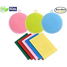 Food Grade Silicone Dish Scrubbers Antibacterial Brushes Multi-purpose Cleaning Brushes Kitchen Sponges for Washing Glass Bottle Pot Pan Fruit and Vegetable 8 Pack (8 Pack round shape in multi color)