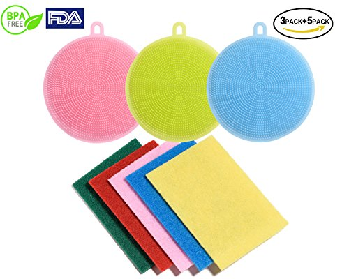 Food Grade Silicone Dish Scrubbers Antibacterial Brushes Multi-purpose Cleaning Brushes Kitchen Sponges for Washing Glass Bottle Pot Pan Fruit and Vegetable 8 Pack (8 Pack round shape in multi - For Shape Face Glass