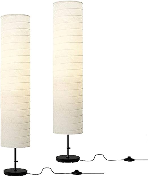 Holmo Floor Lamp Paper Shade Bed Lighting NEW 46-Inch  Home Light Metal