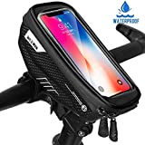 Bike Phone Bag, Waterproof Front Frame Bag Mountain Bicycle Touch Screen Cell Phone Holder Pouch for iPhone Xs MAX/XR/X / 8 Plus/Samsung S9 / S8 Up to 6.5″ Smartphone