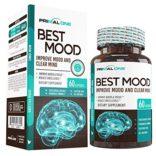 Best Mood Nootropic Mood Booster & Stress Relief Supplement for a Calm Mind, Clear Focus, Mental Clarity – Supports Dopamine & Serotonin w/KSM-66 Ashwagandha, Bacopa, L-Theanine – 60 Veggie Pills