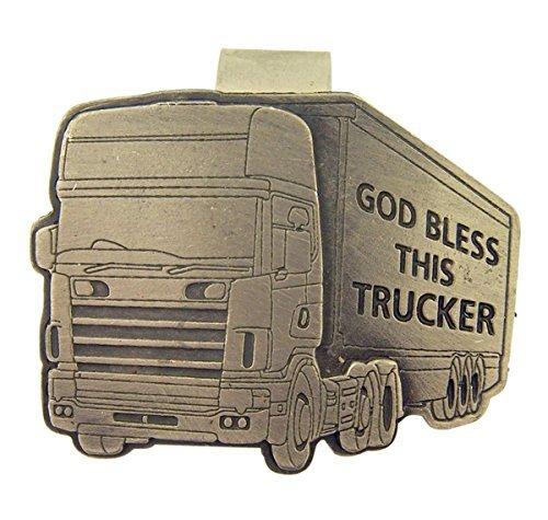 (Pewter God Bless This Trucker Big Rig Truck Visor Clip, 2 Inch)