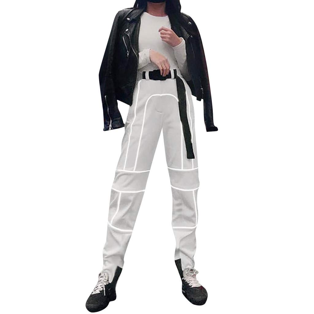 LISTHA Reflective Cargo Pants Women Overalls Street Shot High Waist Trousers Gray