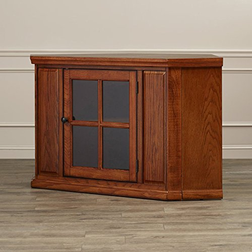 Corner TV Stand - Contemporary Entertainment Center For TVs Up to 43'' - Classic Design and Media Storage Cabinets (Burnished Oak) Burnished Oak Tv