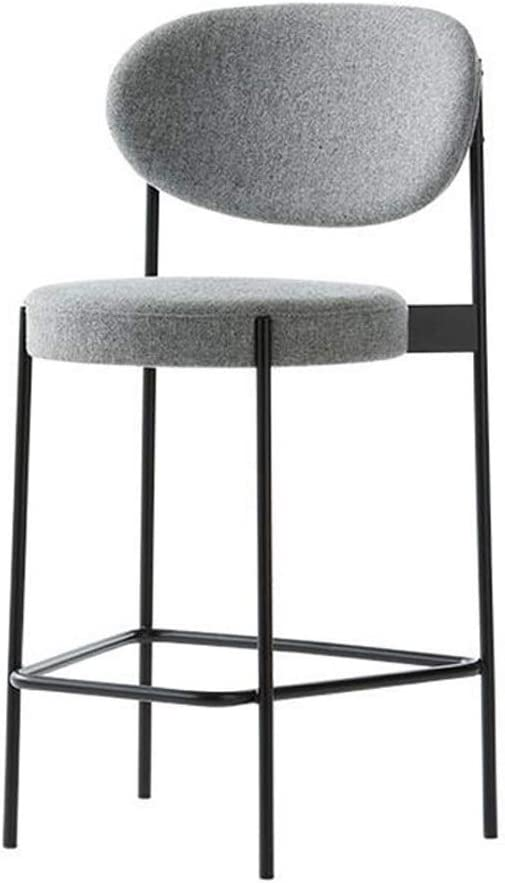 Amazon Com Qqxx Grey Bar Stools Ikea Nordic Simple Metal Dining Room Chairs With Backs Upholstered Footrest Dining Chair For Kitchen Pub Patio Cafe Stool Color Gray Size 65cm Furniture