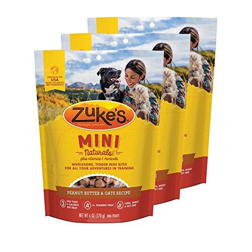 Zuke's Mini Naturals Dog Treats Peanut Butter and Oats 6 oz 3 Pack (Zukes Mini Naturals Peanut Butter)