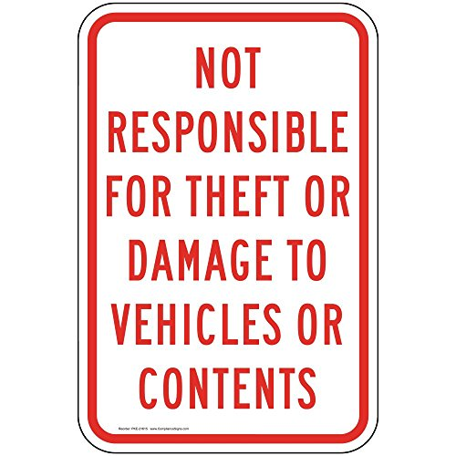 ComplianceSigns Aluminum Parking Control sign, Reflective 18 x 12 in. with Parking Lot / Garage info in English, ()