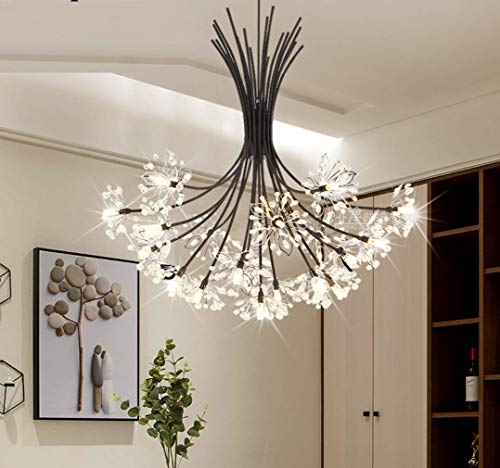 MGFDC Chandelier Lamp Dandelion Shape Floral Design Hanging Lamp Interior Decoration Pendant Lamp for Daughter Girl Bedroom/Living Room/Dining D-68cm,19lights,68cm ()