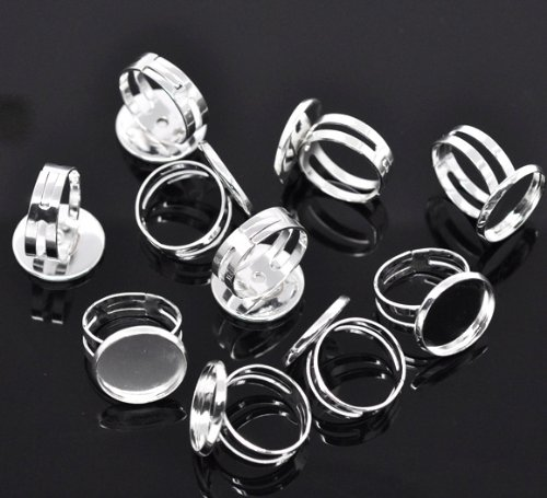 PEPPERLONELY Brand, 20PC Silver Plated 16.7mm Bezel Cup Ring Settings Adjustable Us 6.75 or Larger (Fit 16mm - Setting Plated Silver