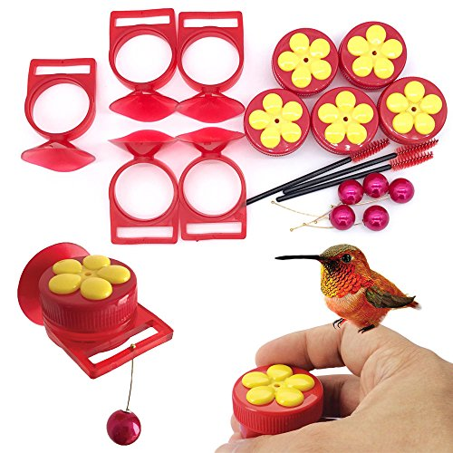 Aroma Trees Handheld Hummingbird Feeders with Perch—Pack of 5 (Brush Used Guard)