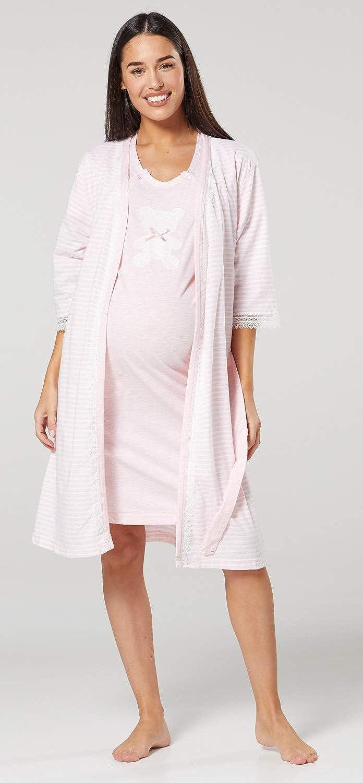 HAPPY MAMA Donna Vestaglia e Camicia da Notte Set pr/émaman Allattamento 1275