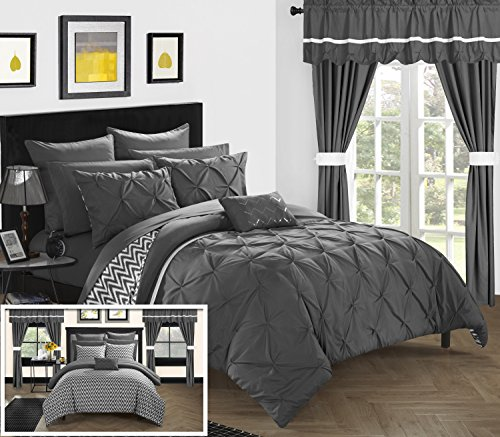 Chic Home CS0586-AN 20 Piece Jacksonville Complete Bed Room In A Bag Super Pinch Pleated Design Reversible Chevron Pattern Comforter Set, Sheet, Window Treatments And Decorative Pillows, Queen, Grey