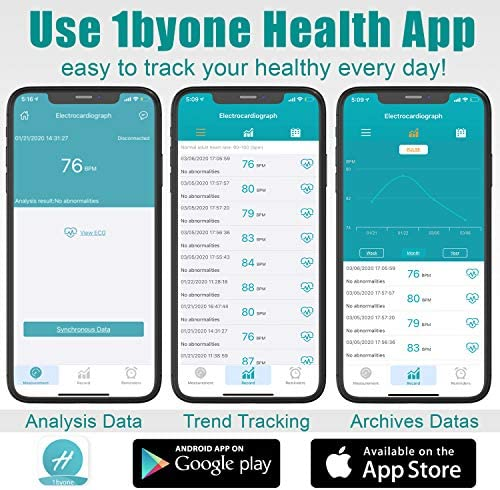 1byone Wireless ECG EKG Monitor Portable Home Monitoring Devices for Health Care Use, Heart Rate Tracking Monitor, App Support, iOS & Android Smartphones (PC Software,Both Windows & Mac)