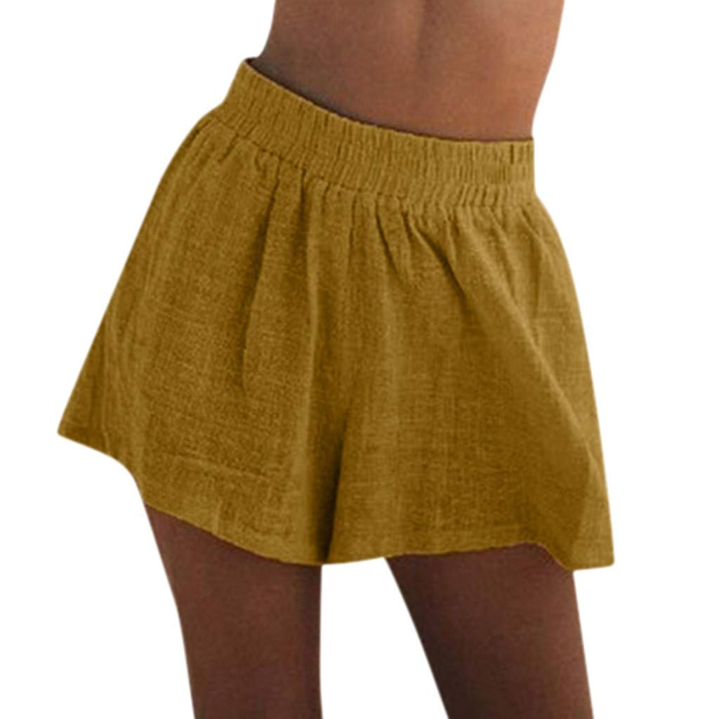 J-paty Women's Shorts, Elastic Waist High Waist Pants Comfy Cotton Linen Pants Solid Loose Bermuda Shorts Pyjama Beachwer Yellow