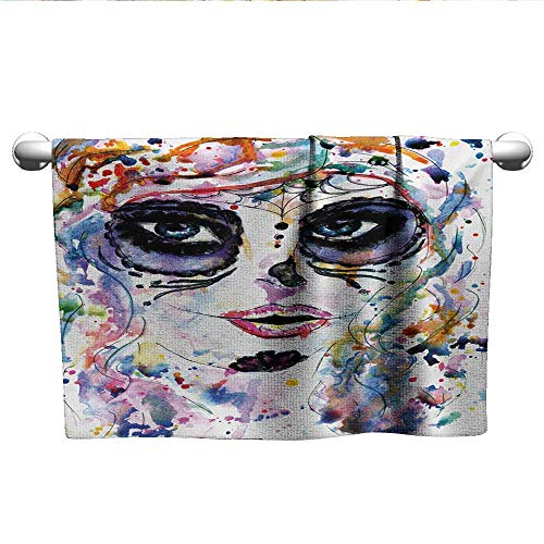 alisoso Sugar Skull,Kids Bath Towels Halloween Girl with Sugar Skull Makeup Watercolor Painting Style Creepy Look Fade-Resistant Multicolor W 10