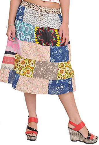 Exotic India Multicolor Midi Skirt from Gujarat with Printed Flowers and Patchwork - Multicolored