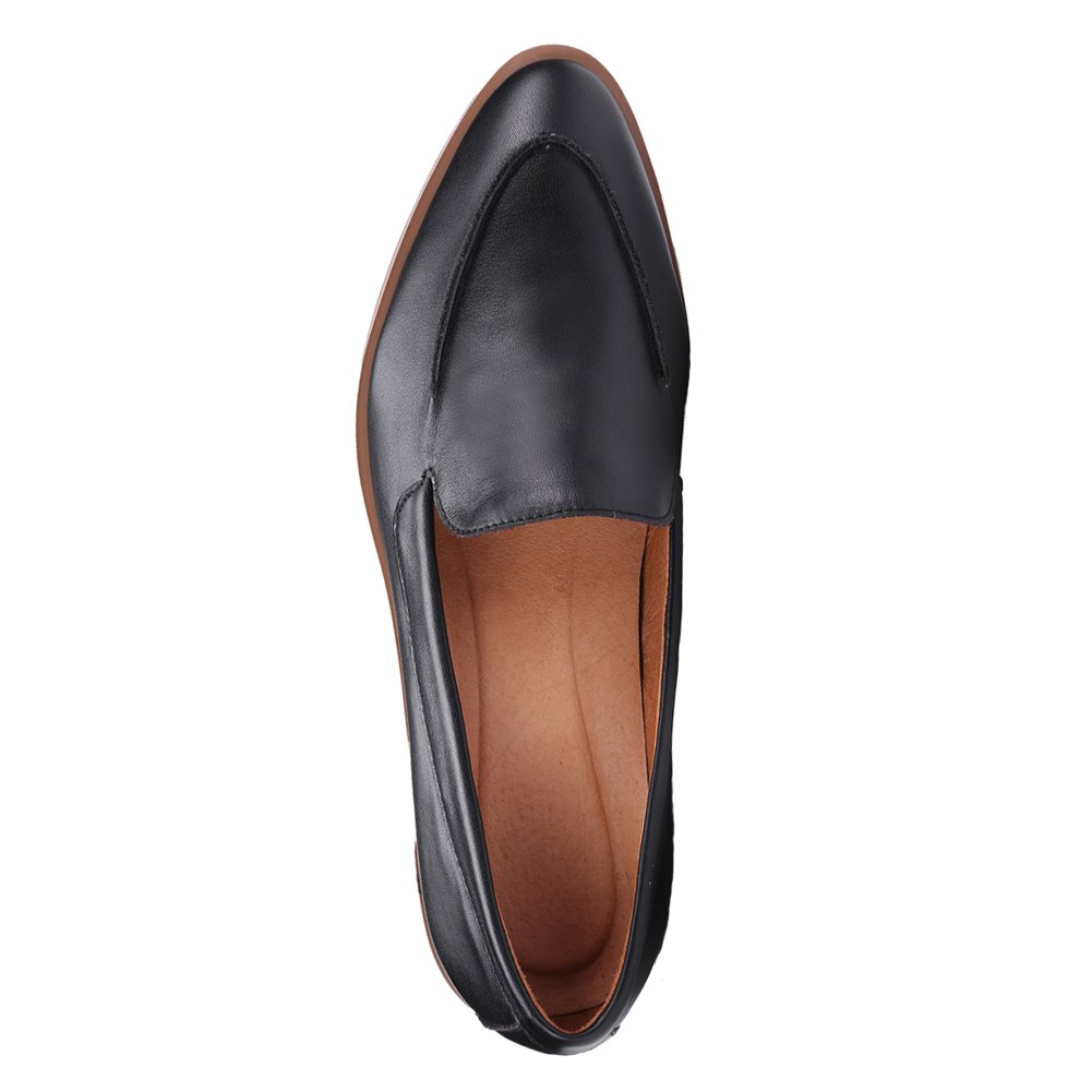 ONEENO Loafers for Women Comfort Casual Slip on Low Heel Cowhide Leather Flat Shoes Black Size 9 US by ONEENO (Image #3)