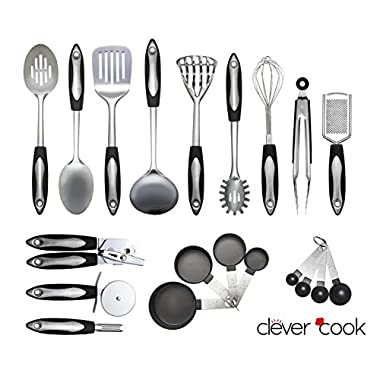 Clever Cook 23 Piece Stainless Steel Set of Kitchen Utensils
