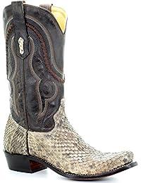 Men's Natural Rattlesnake Skin Boot Square Toe - A3487