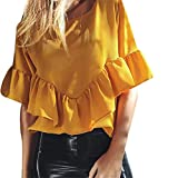2019 Ruffle Sleeve Tops QIQIU Women Round Neck Summer Elegant Plus Size Fashion Solid Office Holiday Blouse Shirts Yellow