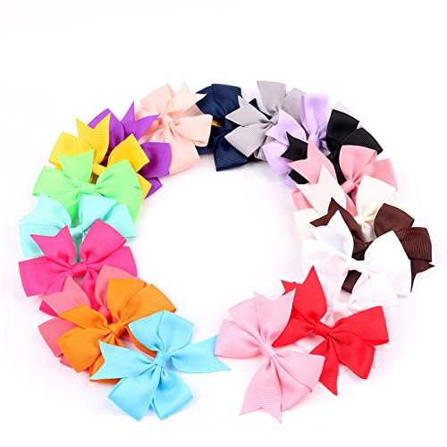 FeiZhu 20Pcs Baby Girl Grosgrain Ribbon Boutique Pinwheel Hair Bows For Teens (Cheerleading Outfits Cheap)