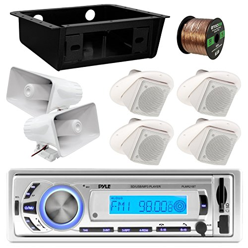 Pyle PLMR21BT Marine Boat USB/SD/MP3 Bluetooth Stereo Receiver Bundle Combo With 4x 3
