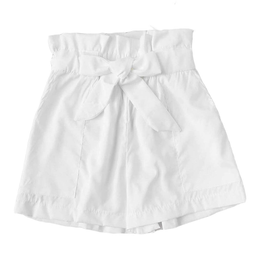 Womens Shorts, Libermall Women's Casual Solid Bowknot Elastic Waist with Pockets Trousers Short Pants White