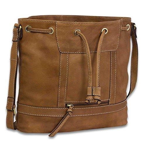 STILORD Bucket Bag Leder Beuteltasche Damen Umhängetasche Handtasche Shopper Shopping Bag echtes Büffel-Leder Braun