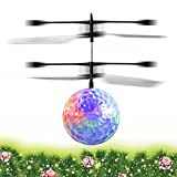 EpochAir Kids Toy RC Flying Ball, Infrared Induction Drone Helicopter Ball Built-in Shinning LED Lighting with Remote Switch Control for Kids, Teenagers