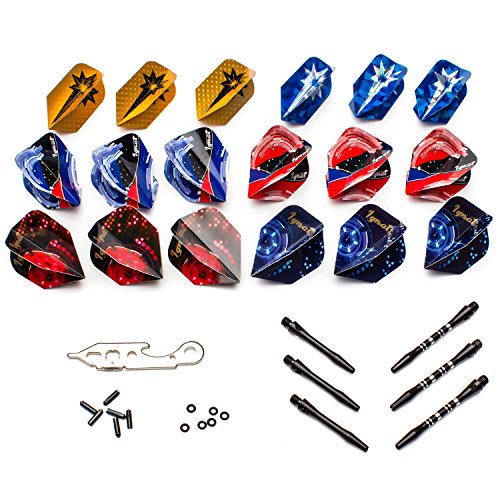 Dart Flights Shafts Darts - Ignat Games Dart Accessories Kit - Darts Supplies Set with Flights, Shafts, O Rings, Flights Protectors and Dart Repair Tool