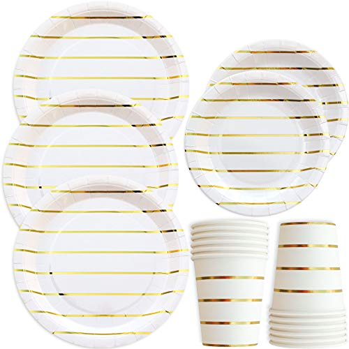 Gold Striped Disposable Paper Plates and Cups Set for 50 Guests; Gold Metallic Foil 50 Dinner Plates, 50 Dessert Plates, and 50 9 oz Cups Party Plates for Bridal Baby Shower Wedding Anniversary (Stripes Anniversary)