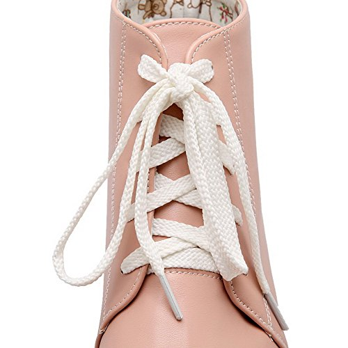 AmoonyFashion Womens Kitten-Heels Soft Material Ankle-High Solid Lace-Up Boots Pink jN4vjtFc