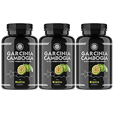 Angry Supplements Garcinia Cambogia Capsules for Weight Loss w/ BIOTIN Best Fat Burner Pills To Maintain Healthy Metabolism. Hydrate Hair, Thicken Nails, Get Clearer Skin - Natural Detox Remedy.