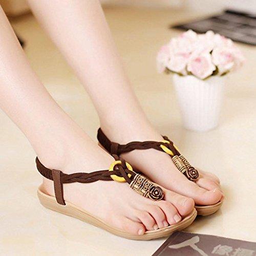 verano cuentas de Clip café ® de mujer Ouneed Bohemia sandalias Sandalias sandalias vestir Moda Yq787dw