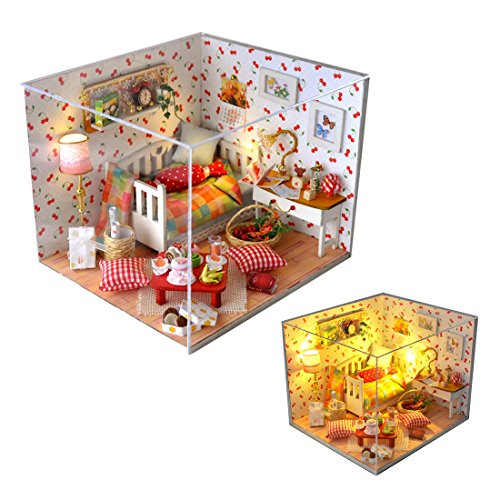 A-szcxtop DIY Wooden Doll House Model Creative Miniature Doll House Furniture Toys Gift for Children (Model Furnitures Kids)