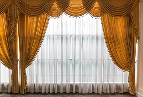 Laeacco 10x6.5ft Bright French Window Vinyl Photography Background Vintage Yellow Curtains Valance White Gauze Old Floor Backdrop Wedding Photo Bride Groom Portrait Shoot Studio Props