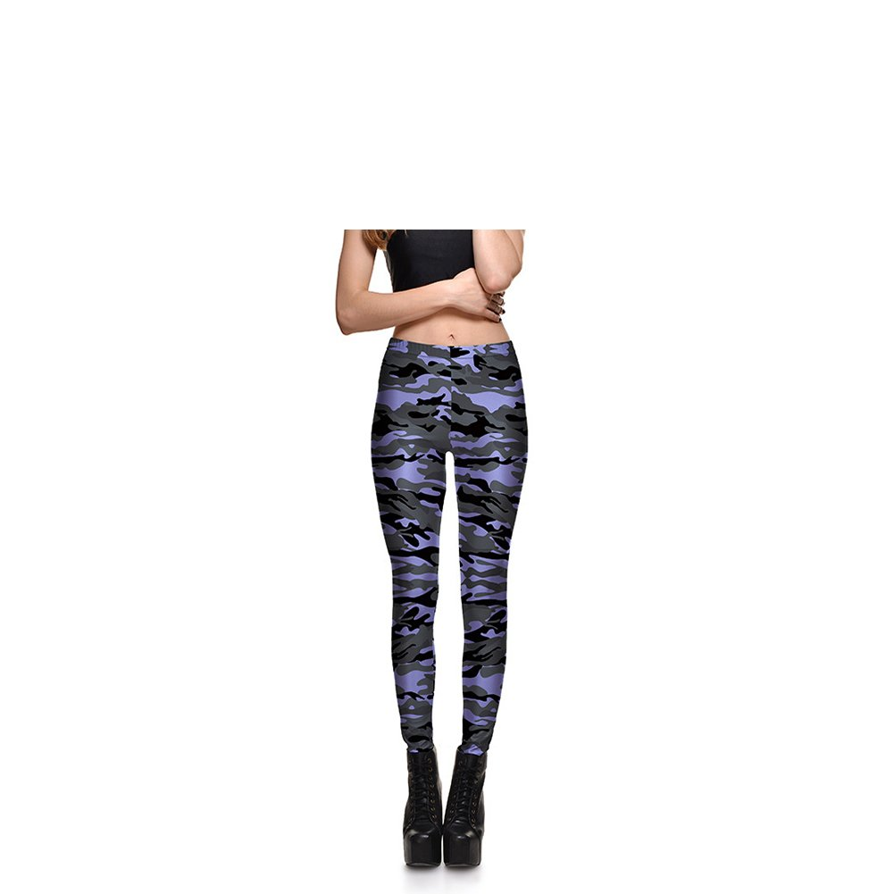 ad0eab33fc1c9 Fashion Purple and Gray Camouflage Print Skinny Leggings Sexy Butt Lift  High Waisted Tights Pants Workouts at Amazon Women's Clothing store: