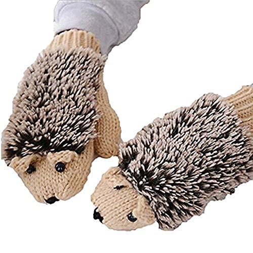 YouZi Women's Cartoon Hedgehog Winter Cotton Gloves Girls' Thick Mittens (Khaki) -
