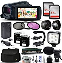 Canon VIXIA HF R82 HFR82 HD Camcorder Video Camera + 128GB Memory + Travel Charger + 3 Filters + 2 Batteries + Opteka X-Grip + LED Light + Microphone + Monopod + Large Case + Dust Cleaning Kit + More