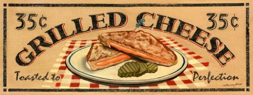 Grilled Cheese Sandwich Metal Sign, Classic Diner, Comfort Food
