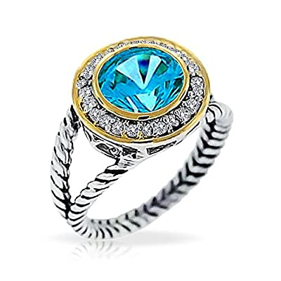 discount Bling Jewelry Round Simulated Aquamarine Two Tone Double Cable Sterling Silver Ring hot sale