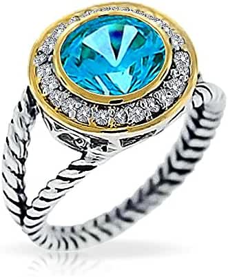 Bling Jewelry Gold Plated Silver Simulated Aquamarine CZ Double Cable Ring